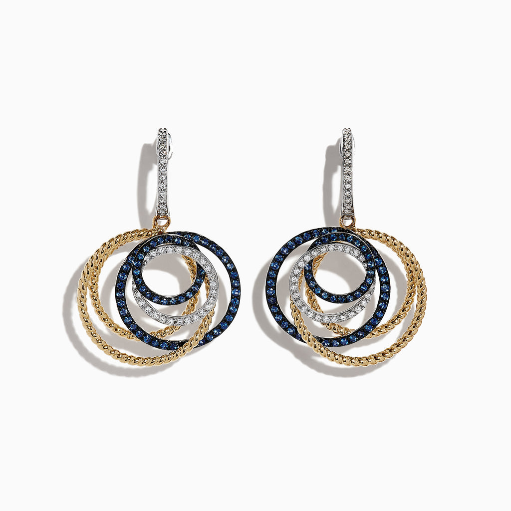 Effy Royale Bleu 14K 2-Tone Gold Sapphire & Diamond Earrings, 1.11 TCW