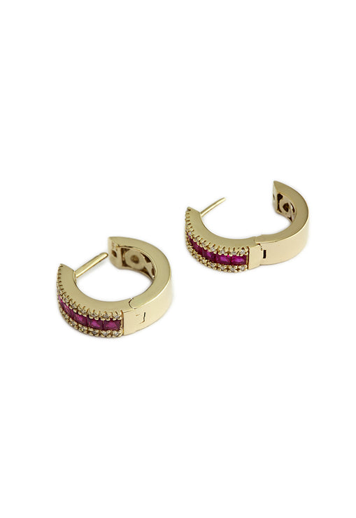 Effy Gemma 14K Yellow Gold Ruby and Diamond Huggie Earrings, 1.76 TCW