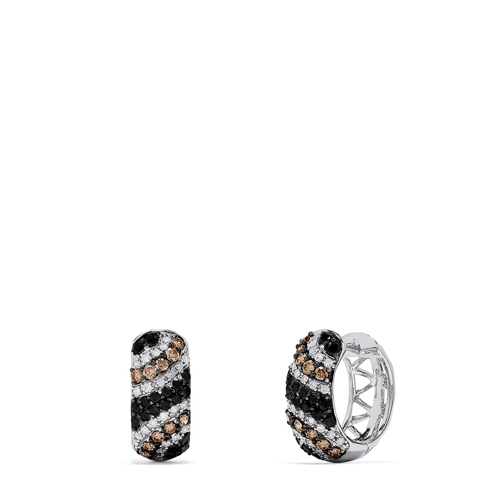 Effy 14K White Gold Black, Espresso & White Diamond Hoop Earrings, 1.05 TCW