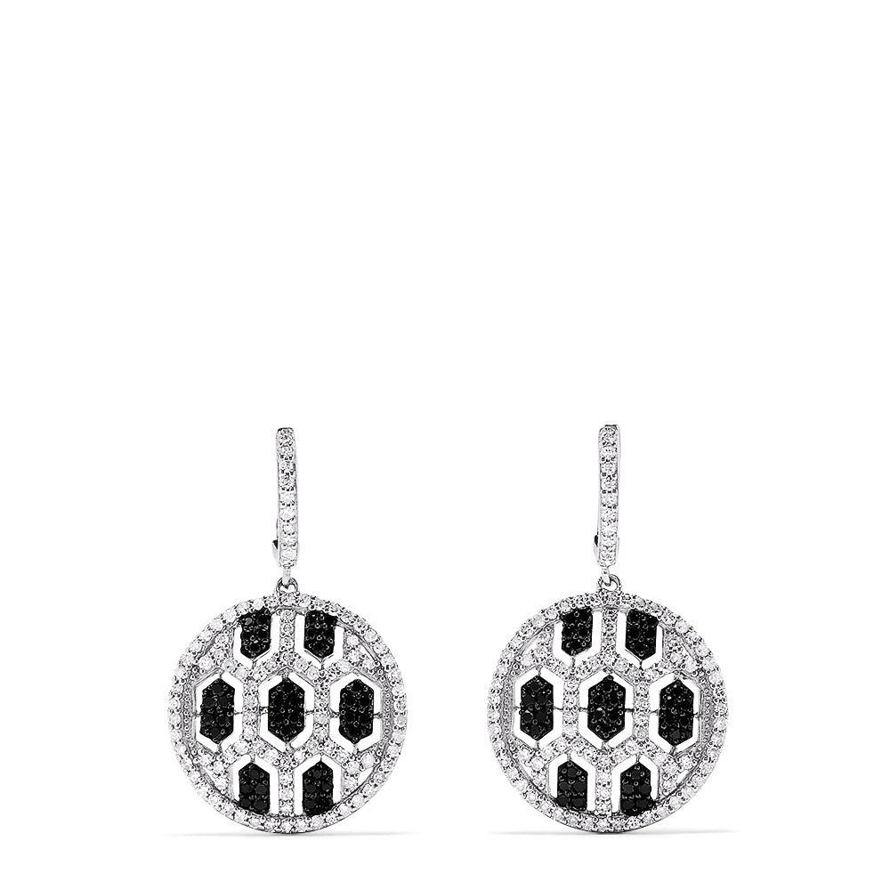 Effy 14K White Gold Black and White Diamond Earrings, 1.35 TCW