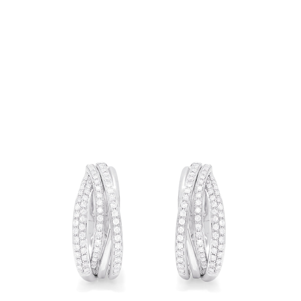 Effy Pave Classica 14K White Gold Diamond Earrings, 0.52 TCW