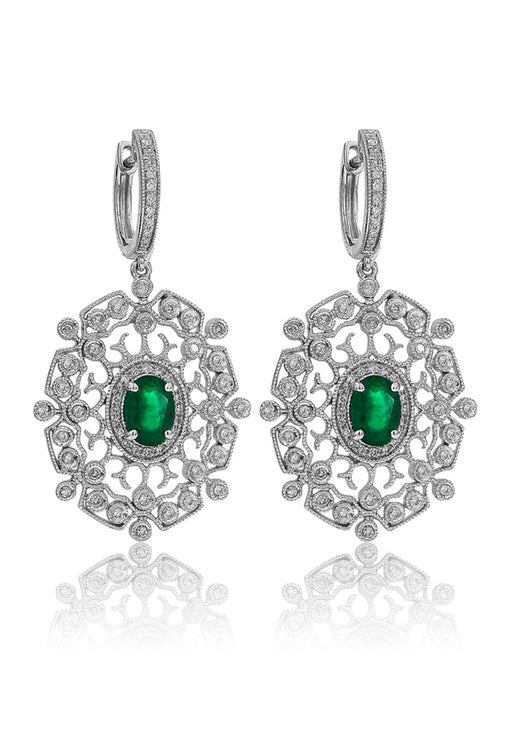 14K White Gold Emerald and Diamond Earrings, 2.03 TCW