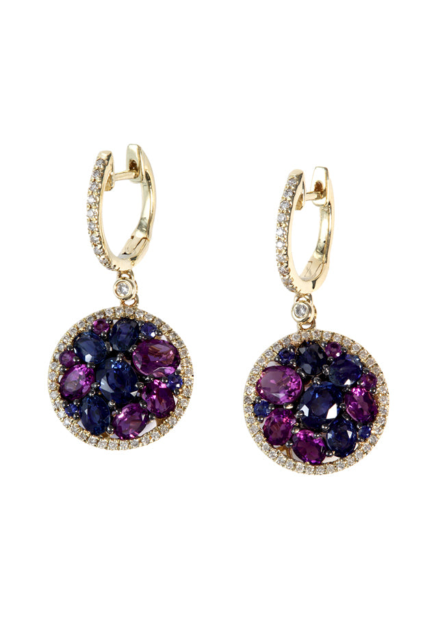 14K Yellow Gold Multi Sapphire & Diamond Earrings