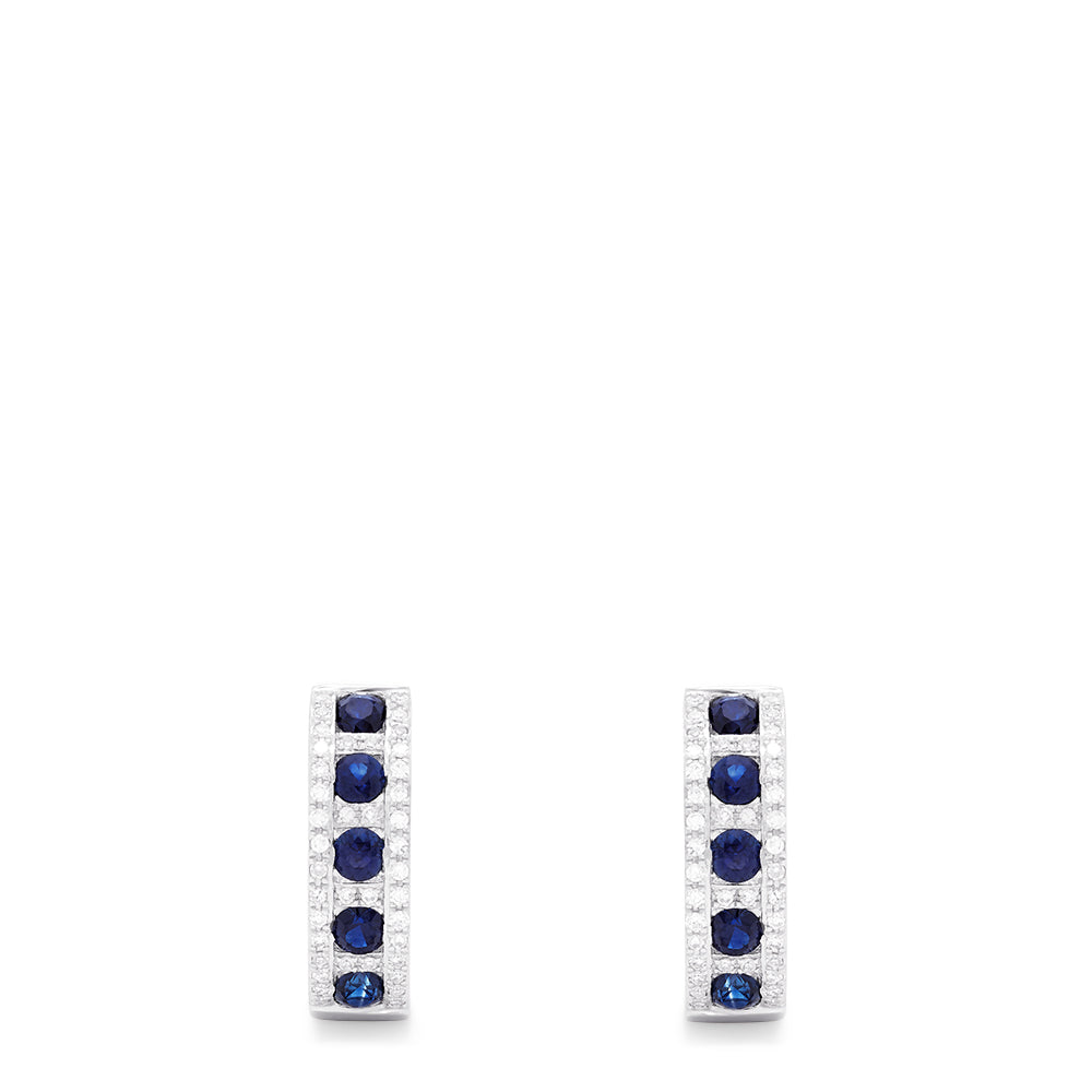 Effy Royale Bleu 14K White Gold Sapphire & Diamond Hoop Earrings, 1.03 TCW
