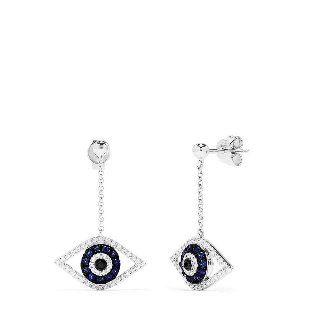 Effy Novelty 14K White Gold Sapphire & Diamond Evil Eye Earrings, 0.63 TCW