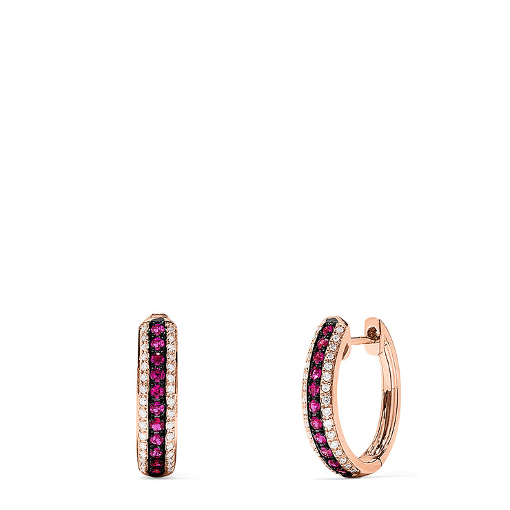 Effy Ruby Royale 14K Rose Gold Ruby and Diamond Hoop Earrings, 0.55 TCW