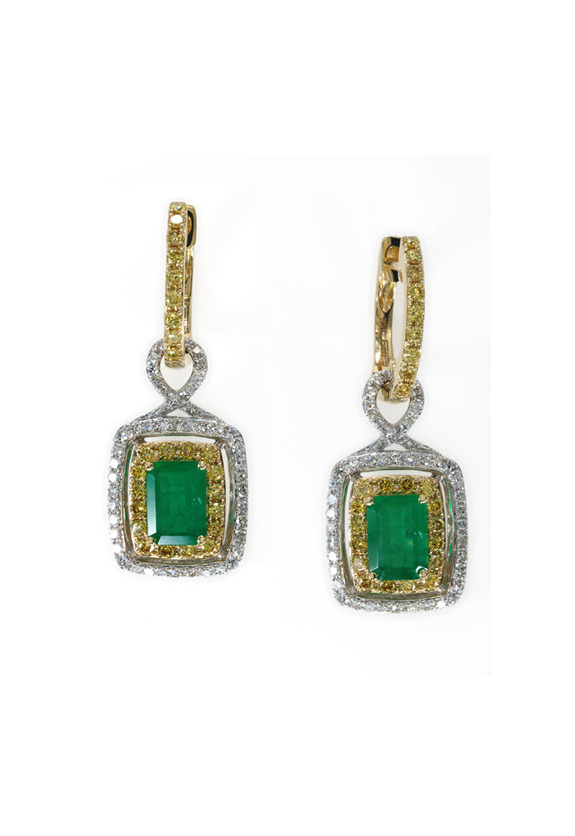 Effy 14K 2-Tone Gold Emerald, Yellow and White Diamond Earrings, 2.90 TCW