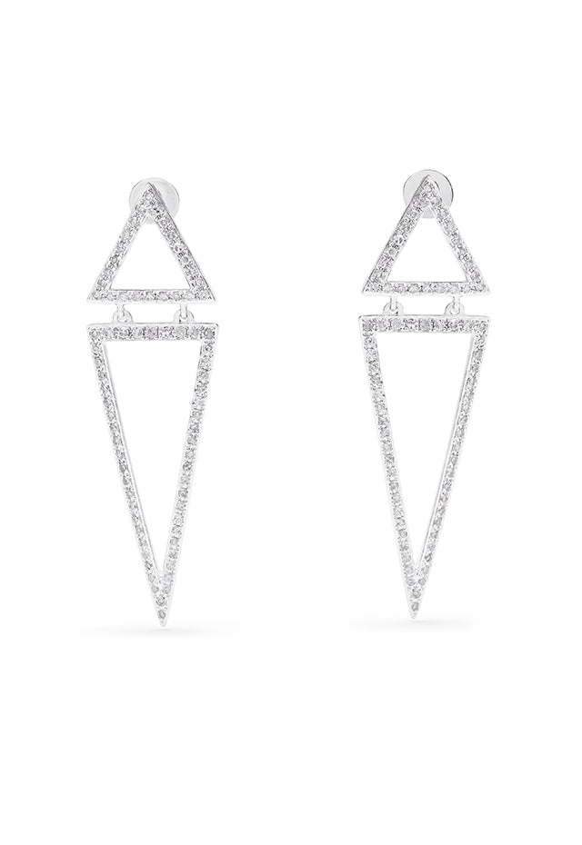 Effy Pave Classica 14K White Gold Diamond Triangles Earrings, 0.59 TCW