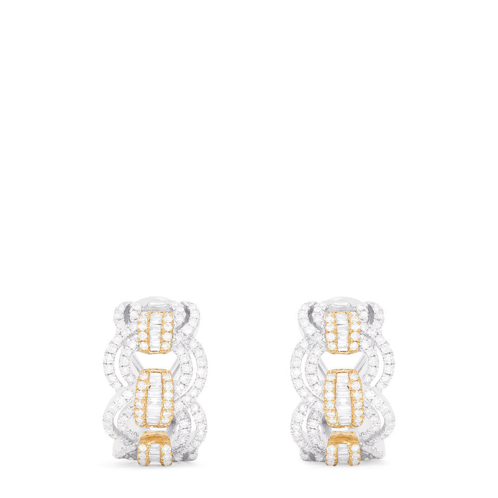 Effy Duo 14K White and Yellow Gold Diamond Earrings, 1.20 TCW