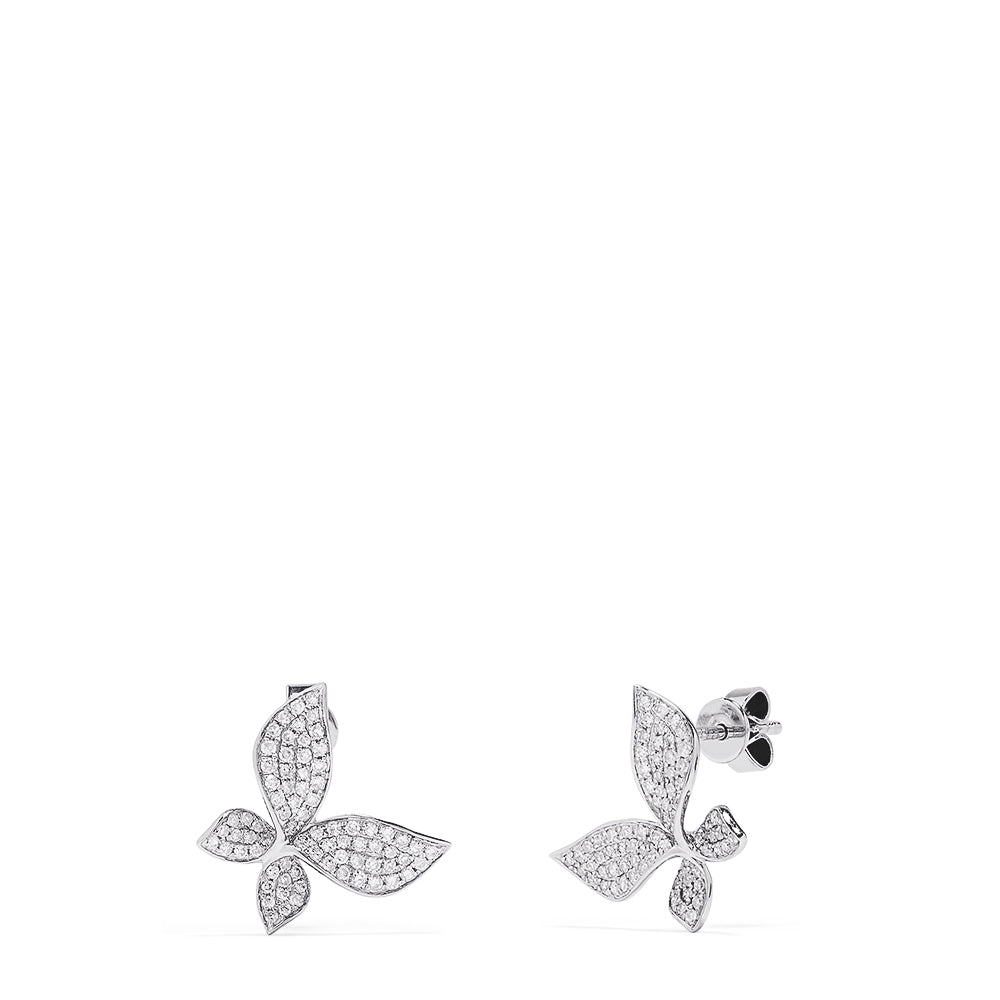Effy Novelty 14K White Gold Diamond Butterfly Stud Earrings, 0.43 TCW