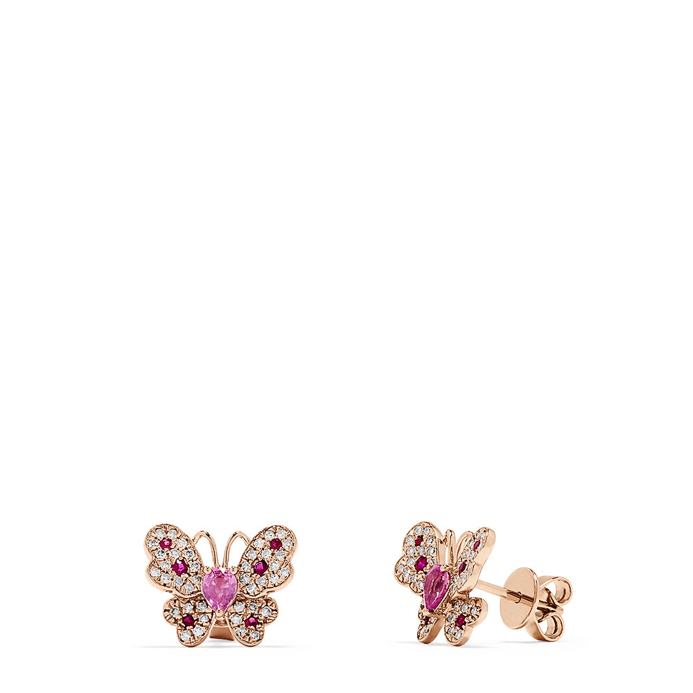 Effy Nature 14K Gold Ruby, Sapphire and Diamond Butterfly Studs, 0.84 TCW