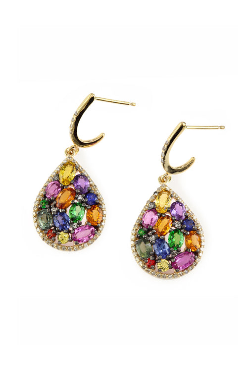 Effy Watercolors 14K Yellow Gold Multi Sapphire and Diamond Earrings