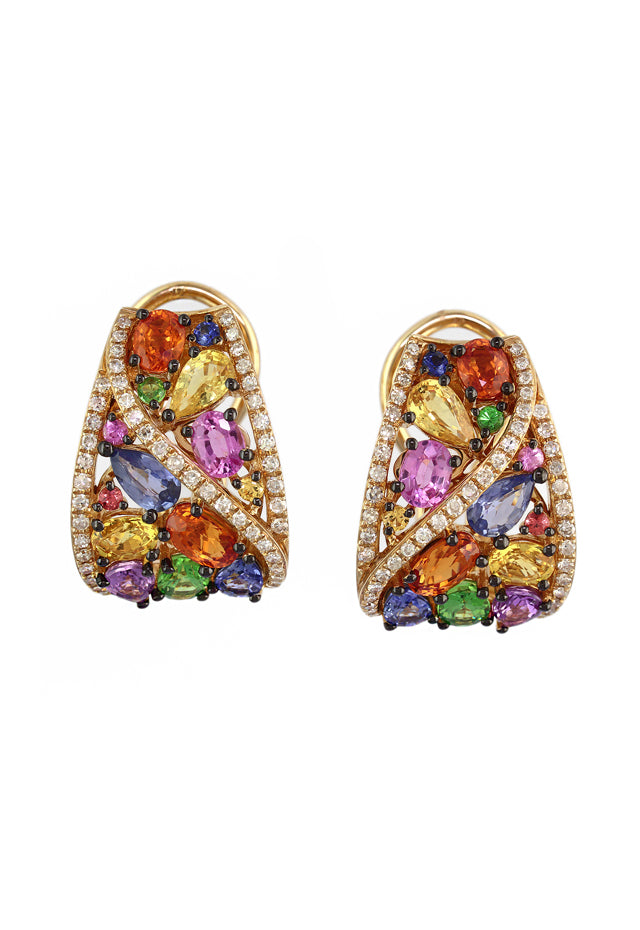 Watercolors Sapphire and Diamond Earrings, 4.73 TCW