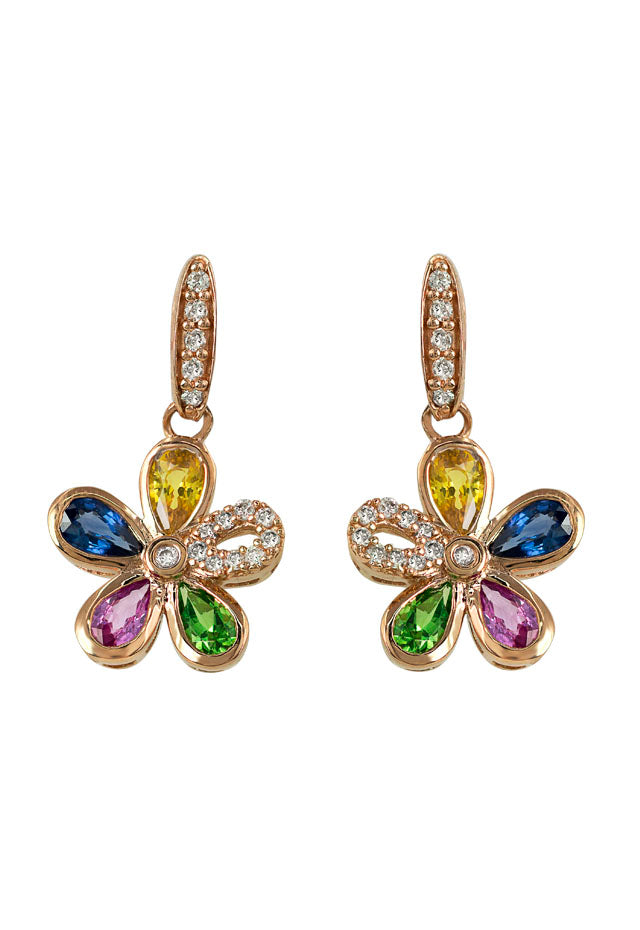 Watercolors Multi Sapphire and Diamond Flower Earrings