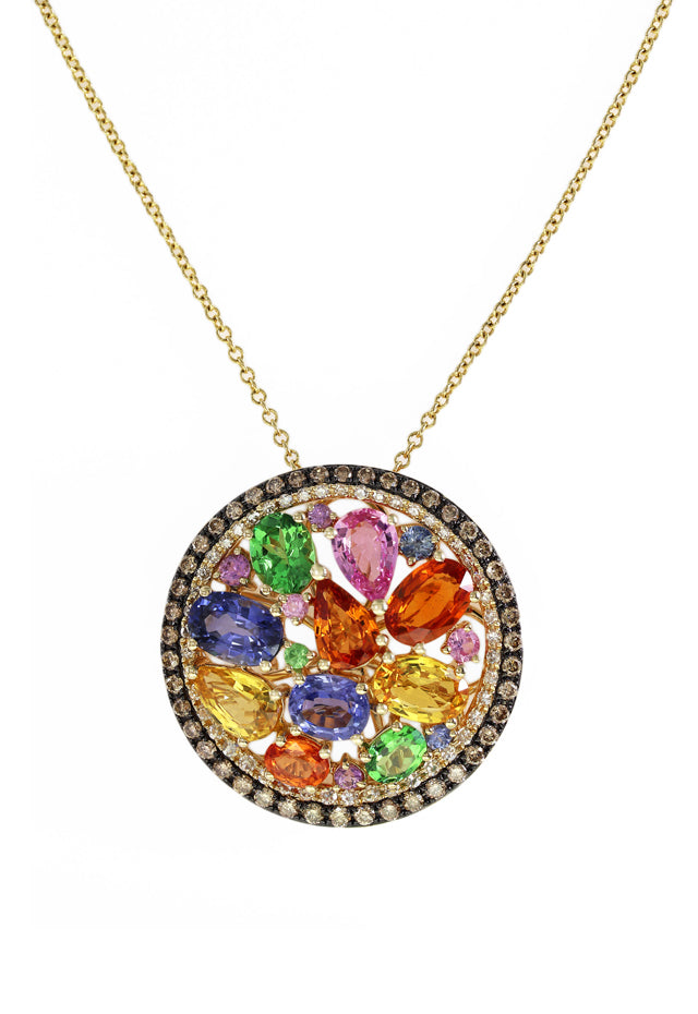 Watercolors Multi Sapphire & Diamond Pendant, 5.11 TCW