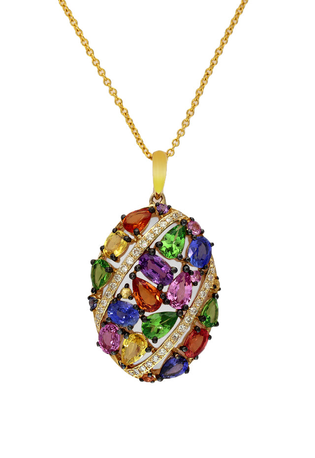 Watercolors Multi Sapphire & Diamond Pendant, 3.49 TCW
