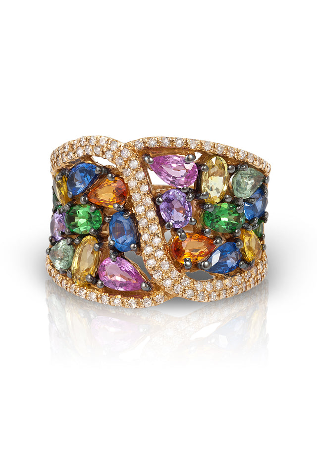 Watercolors Multi Sapphire and Diamond Ring, 5.47 TCW