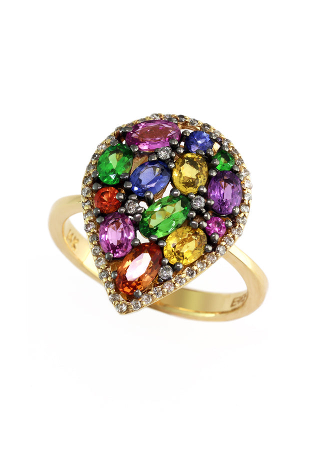 Watercolors Multi Sapphire & Diamond Ring, 2.78 TCW
