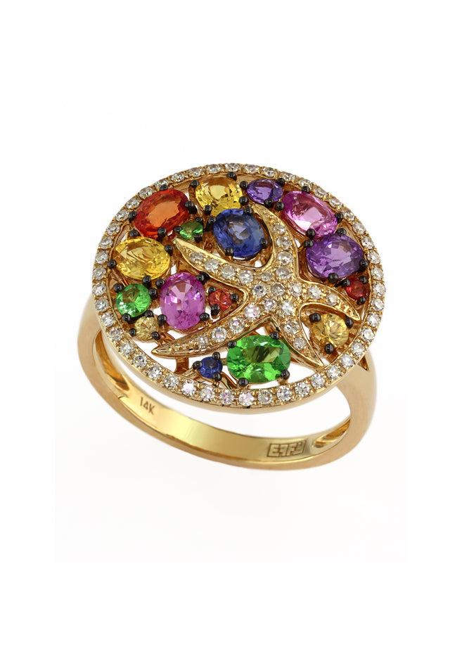 Effy Watercolors 14K Yellow Gold Multi Sapphire & Diamond Ring, 2.44 TCW