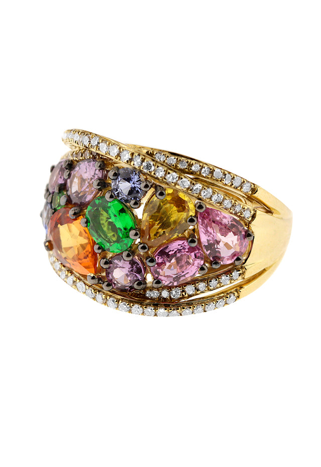 Watercolors Multi Sapphire and Diamond Ring, 4.20 TCW