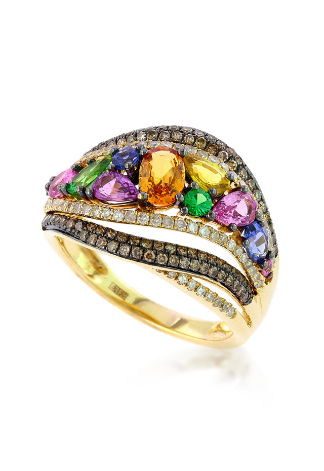 Watercolors Multi Sapphire & Diamond Ring, 3.16 TCW