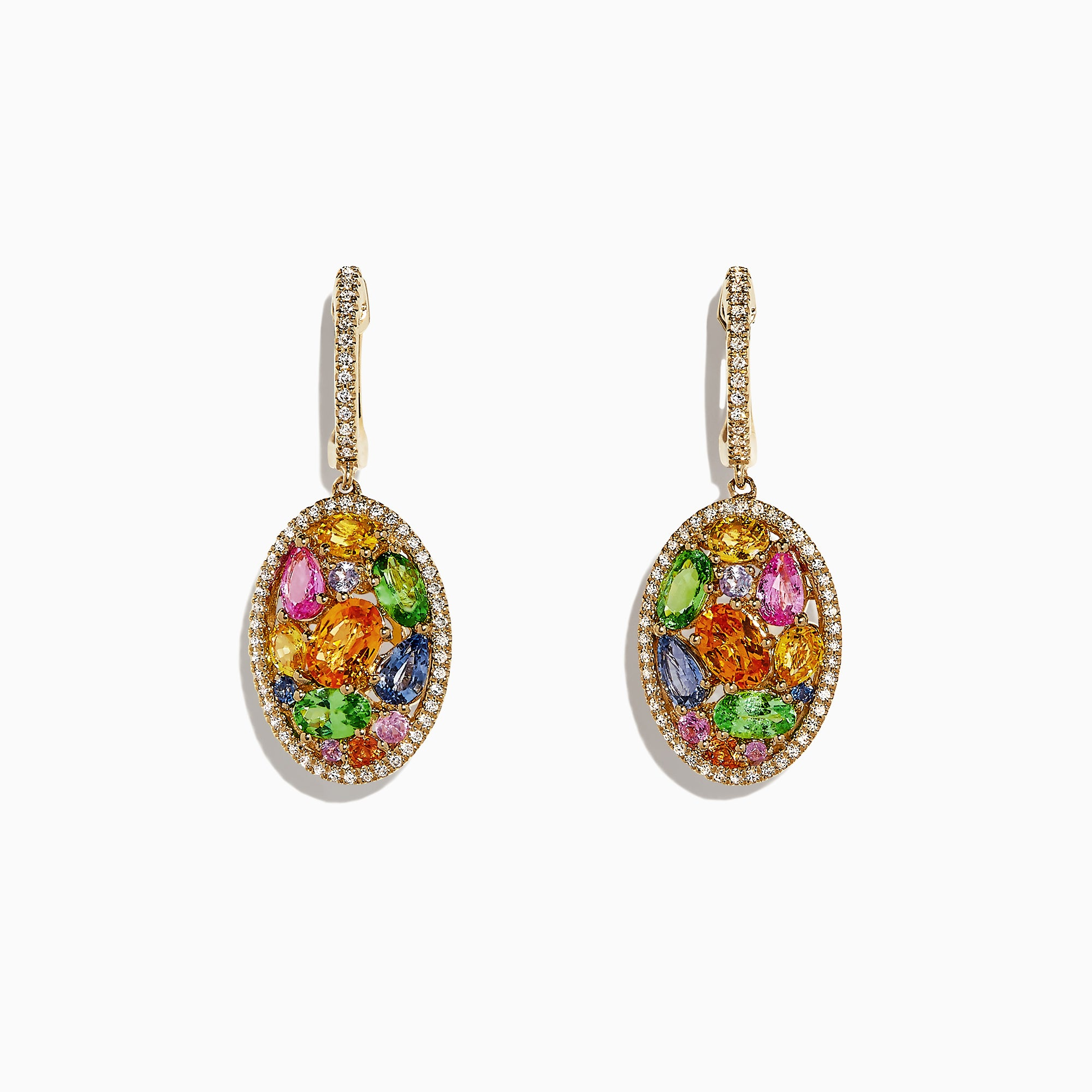 Effy Watercolors 14K Gold Multi Sapphire & Diamond Earrings, 5.11 TCW