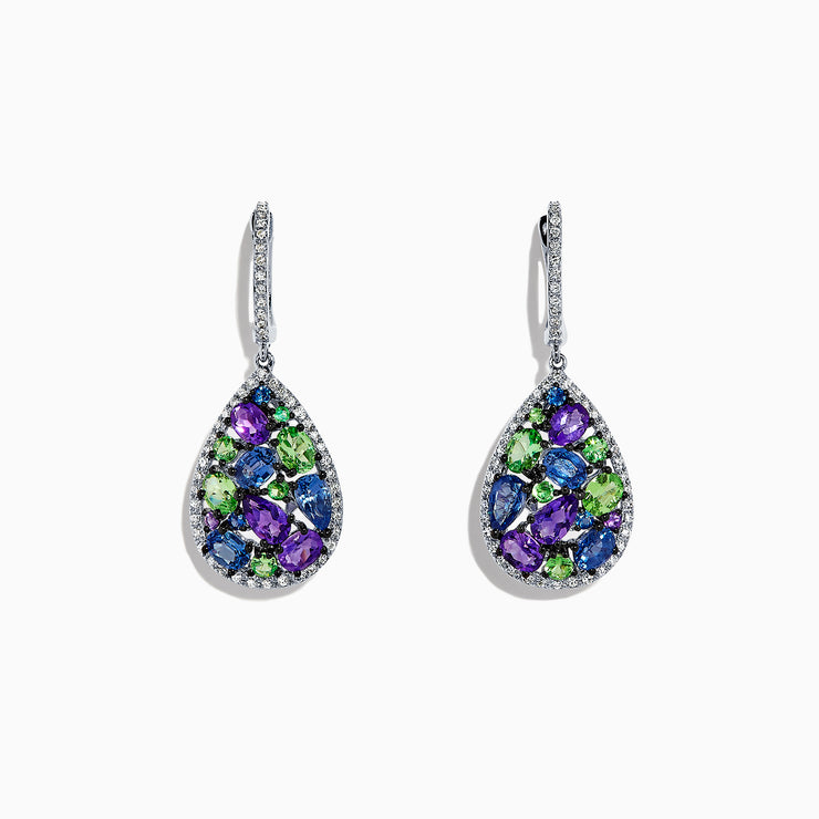 Effy Watercolors 14K White Gold Multi Gemstone & Diamond Earrings, 4.28 TCW