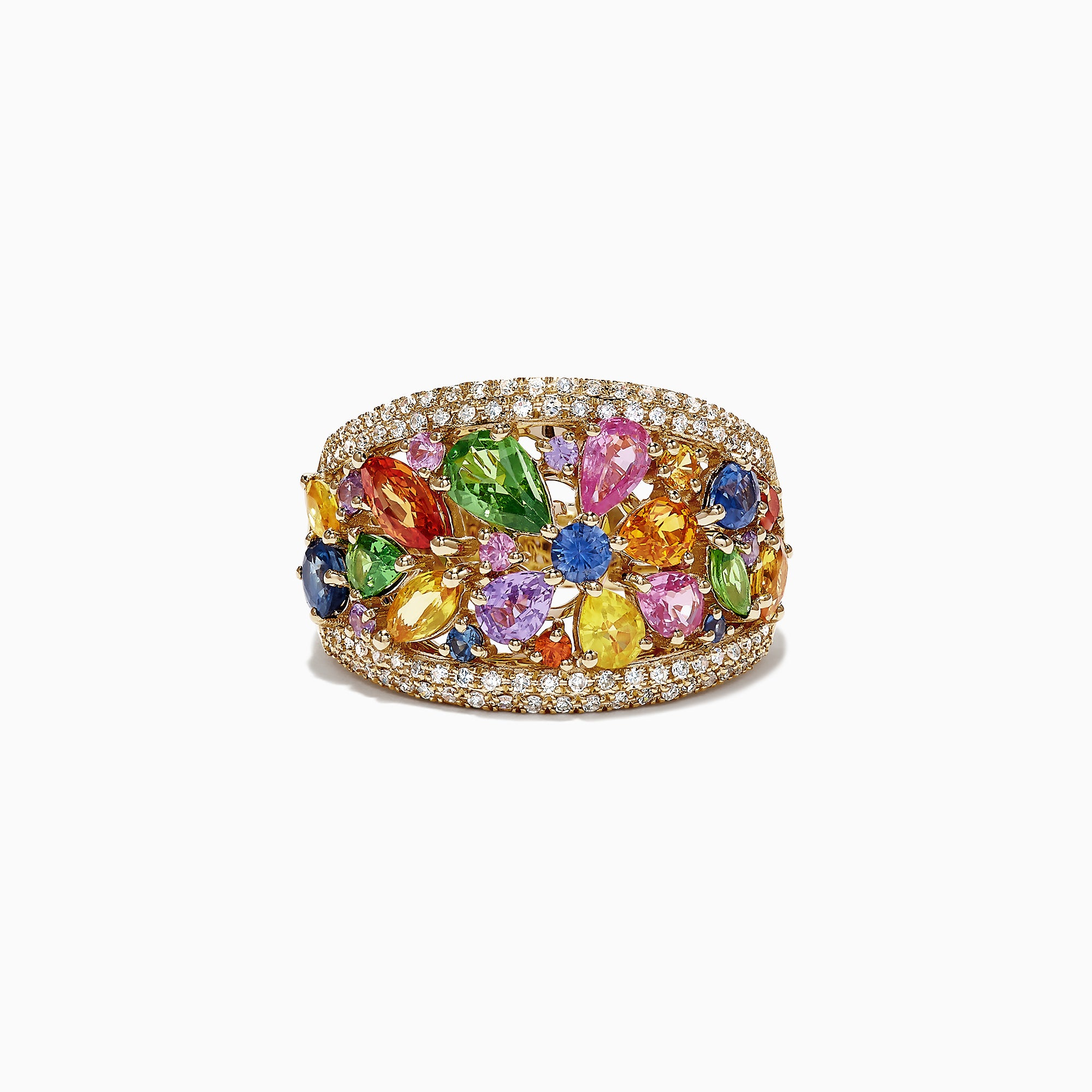 Effy Watercolors 14K Yellow Gold Multi Sapphire & Diamond Ring, 3.96 TCW