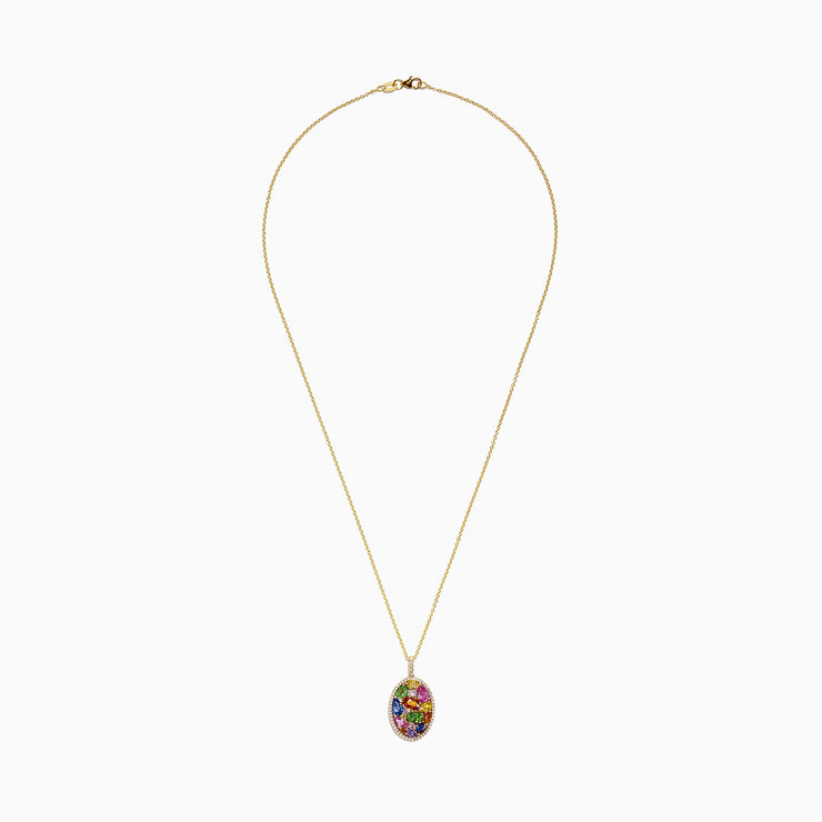 Effy Watercolors 14K Yellow Gold Multi Sapphire & Diamond Pendant, 4.16 TCW