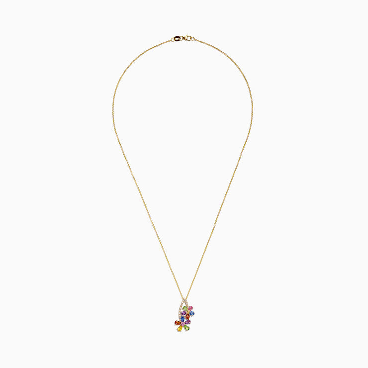 Effy Watercolors 14K Yellow Gold Multi Sapphire & Diamond Pendant, 2.71 TCW