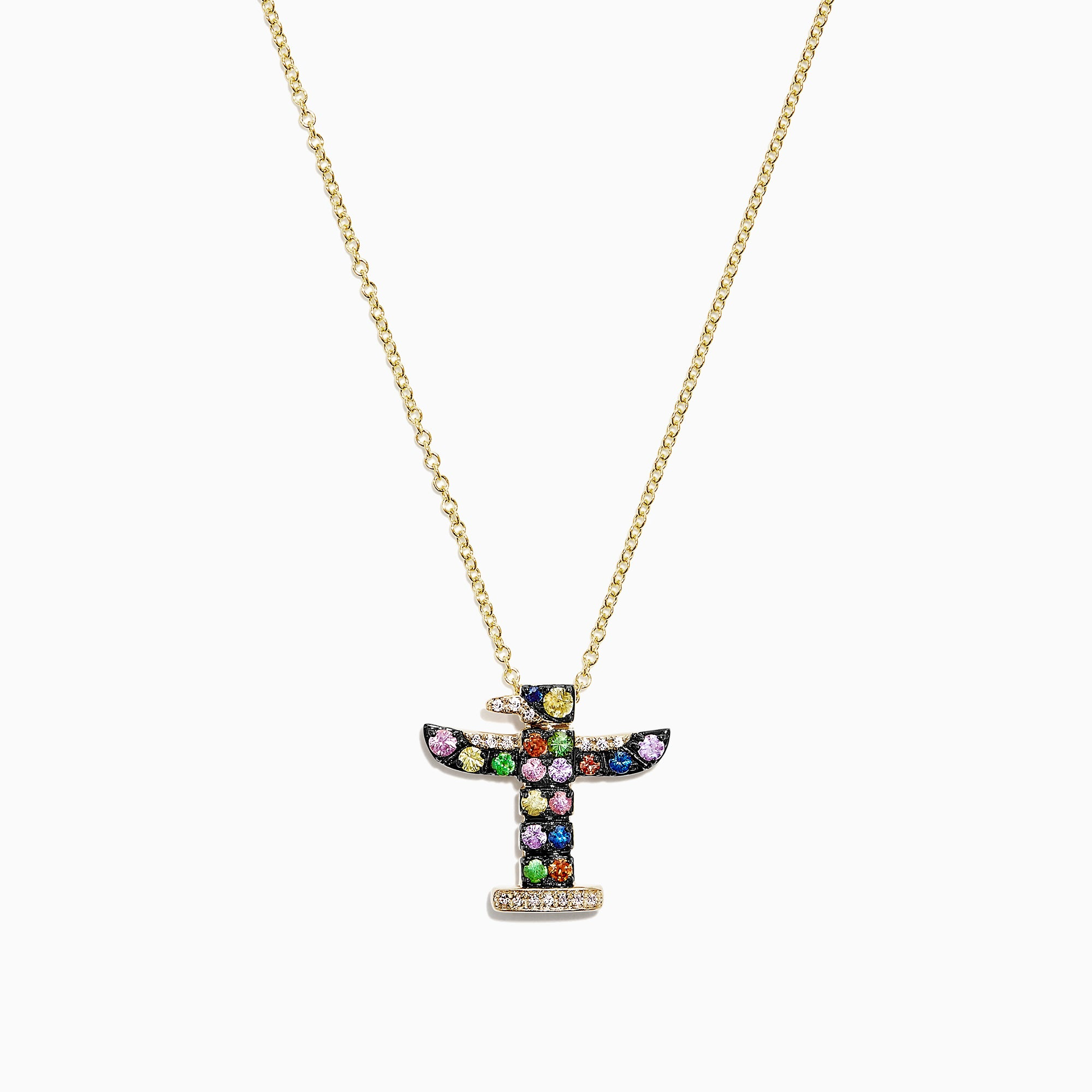 Effy Watercolors 14K Gold Sapphire & Diamond Totem Pole Pendant, 0.58 TCW