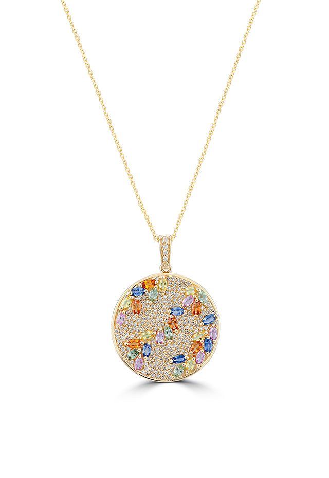 Effy Watercolors 14K Yellow Gold Multi Sapphire & Diamond Pendant, 4.26 TCW