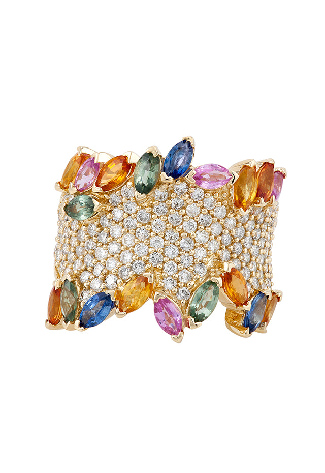 Effy Watercolors 14K Yellow Gold Multi Sapphire and Diamond Ring, 4.60 TCW
