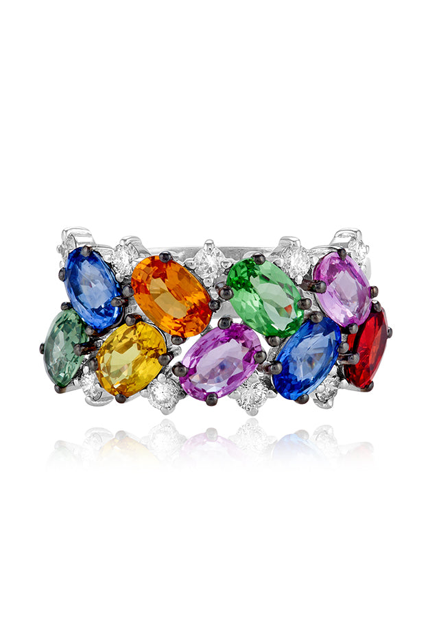 Effy Watercolors 14K White Gold Multi Sapphire and Diamond Ring, 5.53 TCW