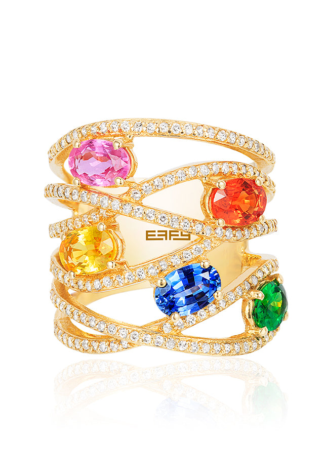 Effy Watercolors 14K Yellow Gold Multi Sapphire and Diamond Ring, 3.50 TCW