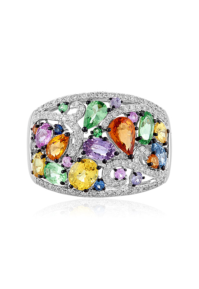 Effy Watercolors 14K White Gold Multi Sapphire and Diamond Ring, 3.90 TCW