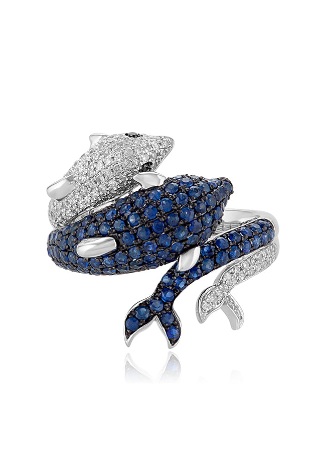 Effy Seaside 14K White Gold Blue Sapphire & Diamond Dolphin Ring, 1.39 TCW