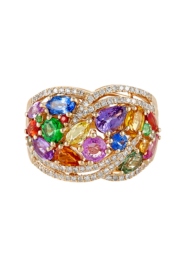 Effy Watercolors 14K Yellow Gold Multi Sapphire and Diamond Ring, 4.25 TCW