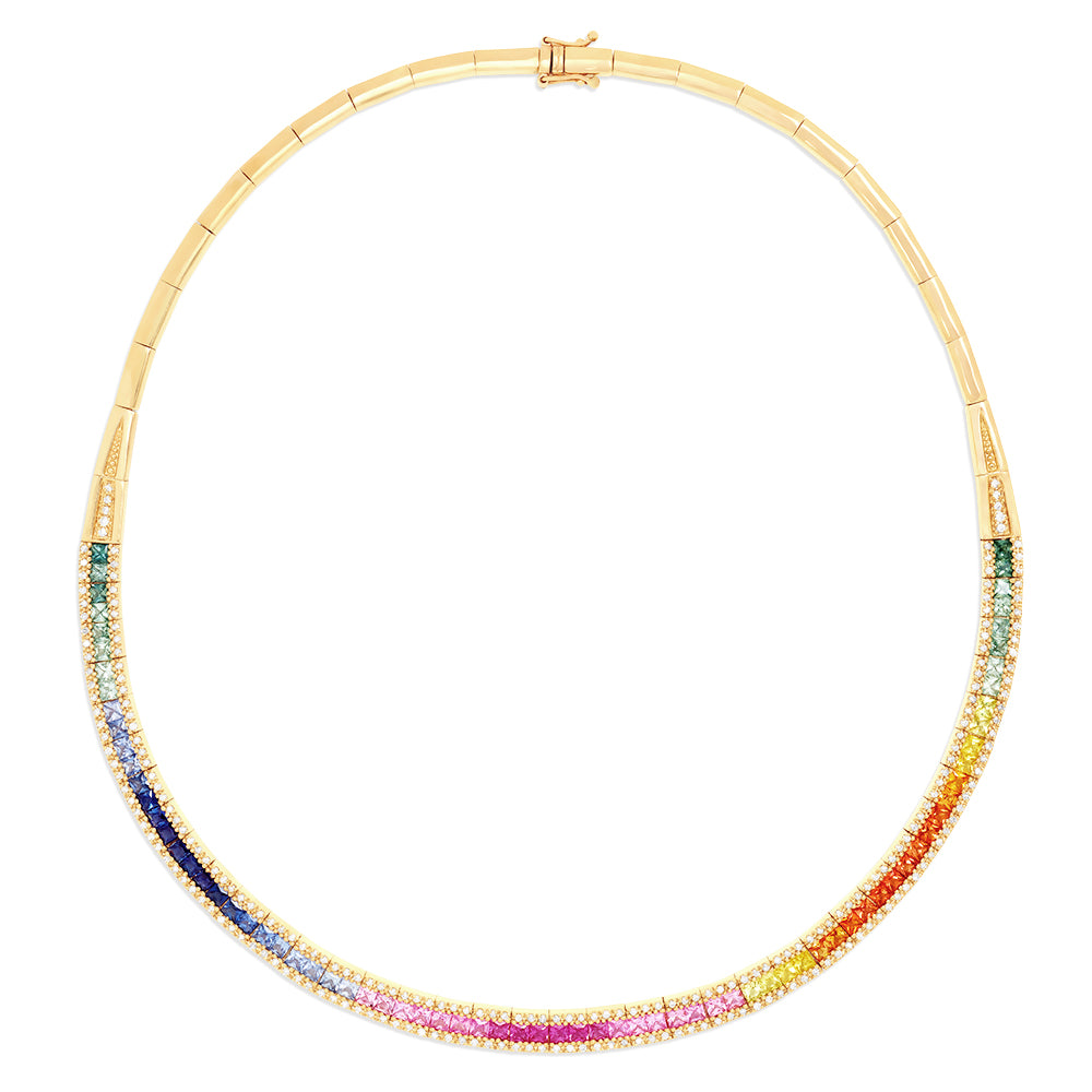 Effy Watercolors 14K Gold Multi Sapphire & Diamond Necklace, 11.21 TCW