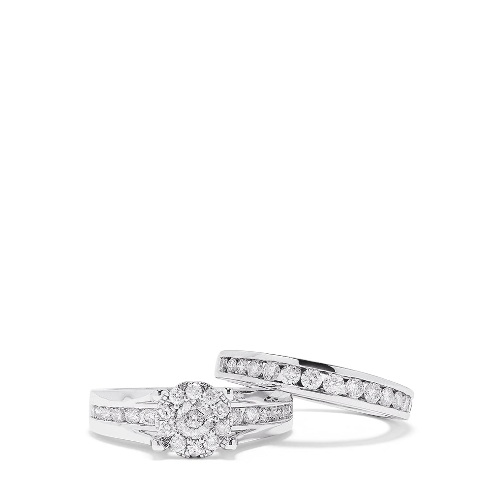 Effy Bouquet 14K White Gold Diamond Ring and Matching Band Set, 1.48 TCW