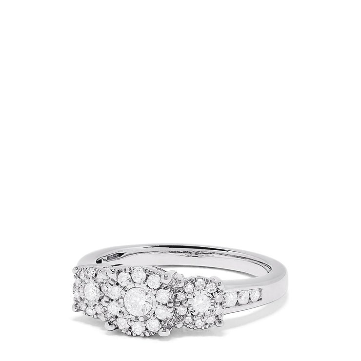 Effy 925 Sterling Silver Diamond Cluster Ring, 0.49 TCW