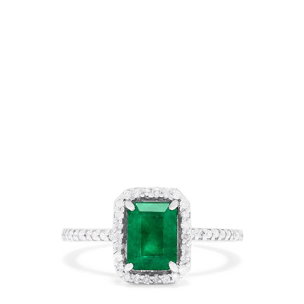 Effy 14K White Gold Emerald and Diamond Ring, 1.65 TCW