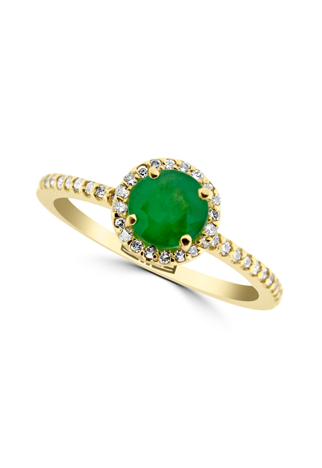Effy 14K Yellow Gold Emerald and Diamond Ring, 1.03 TCW