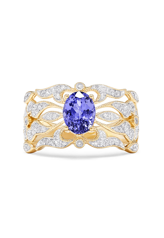 Effy Gemma 14K Yellow Gold Tanzanite and Diamond Ring, 1.45 TCW