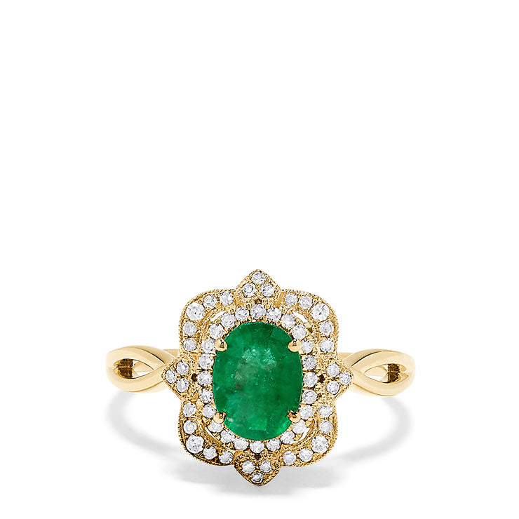 Effy Brasilica 14K Yellow Gold Emerald and Diamond Ring, 1.40 TCW