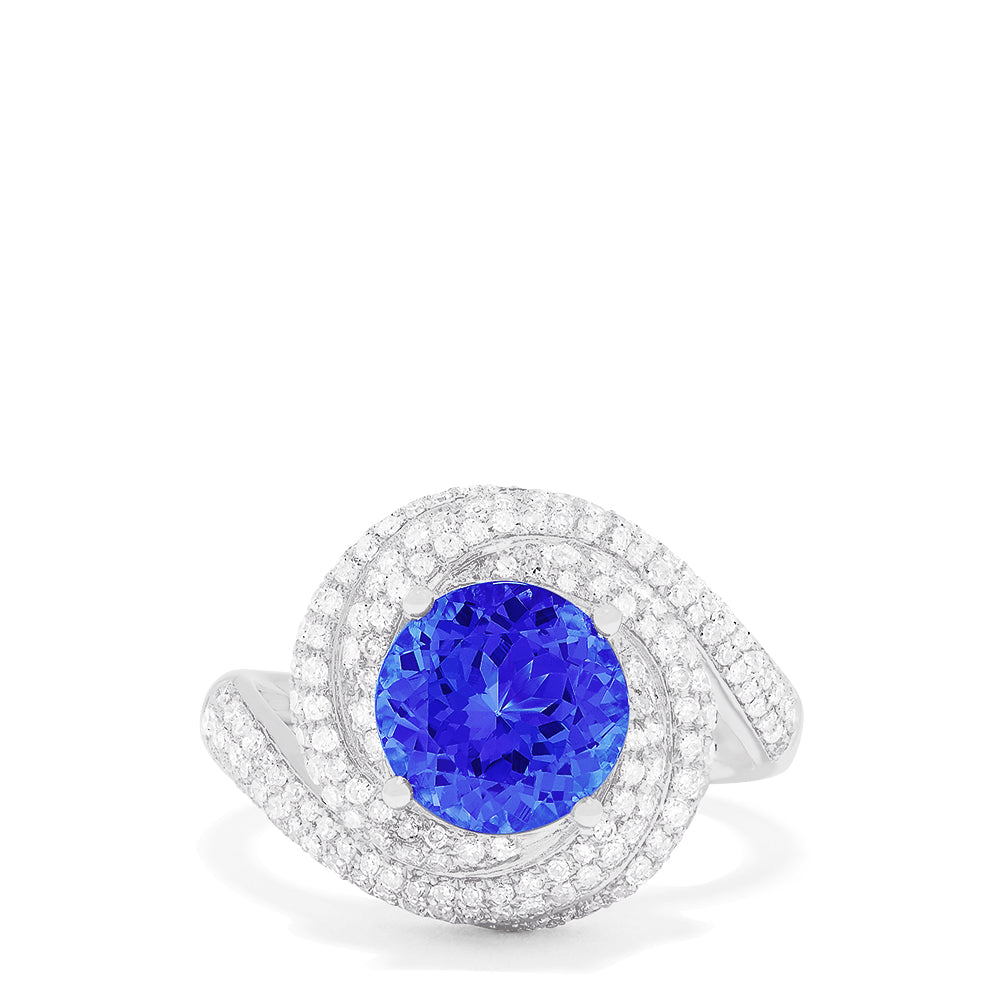 Effy 14K White Gold Tanzanite and Diamond Swirl Ring, 3.72 TCW