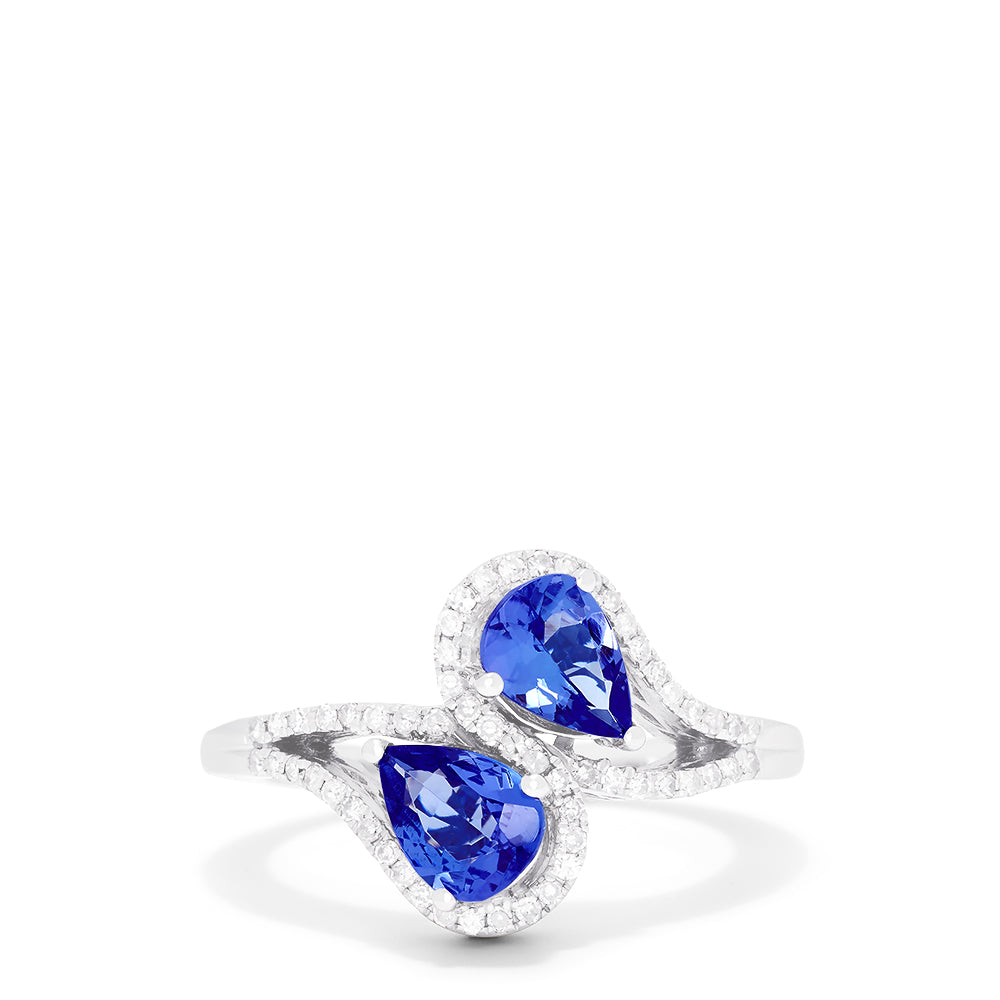 Effy 14K White Gold Pear Cut Tanzanite and Diamond Ring, 0.74 TCW