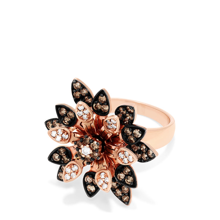 Effy 14K Rose Gold Espresso & White Diamond Moving Petals Ring, 1.73 TCW