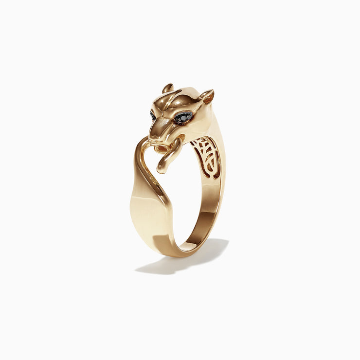 Effy Men's Signature 14K Yellow Gold Black Diamond Panther Ring, 0.02 TCW
