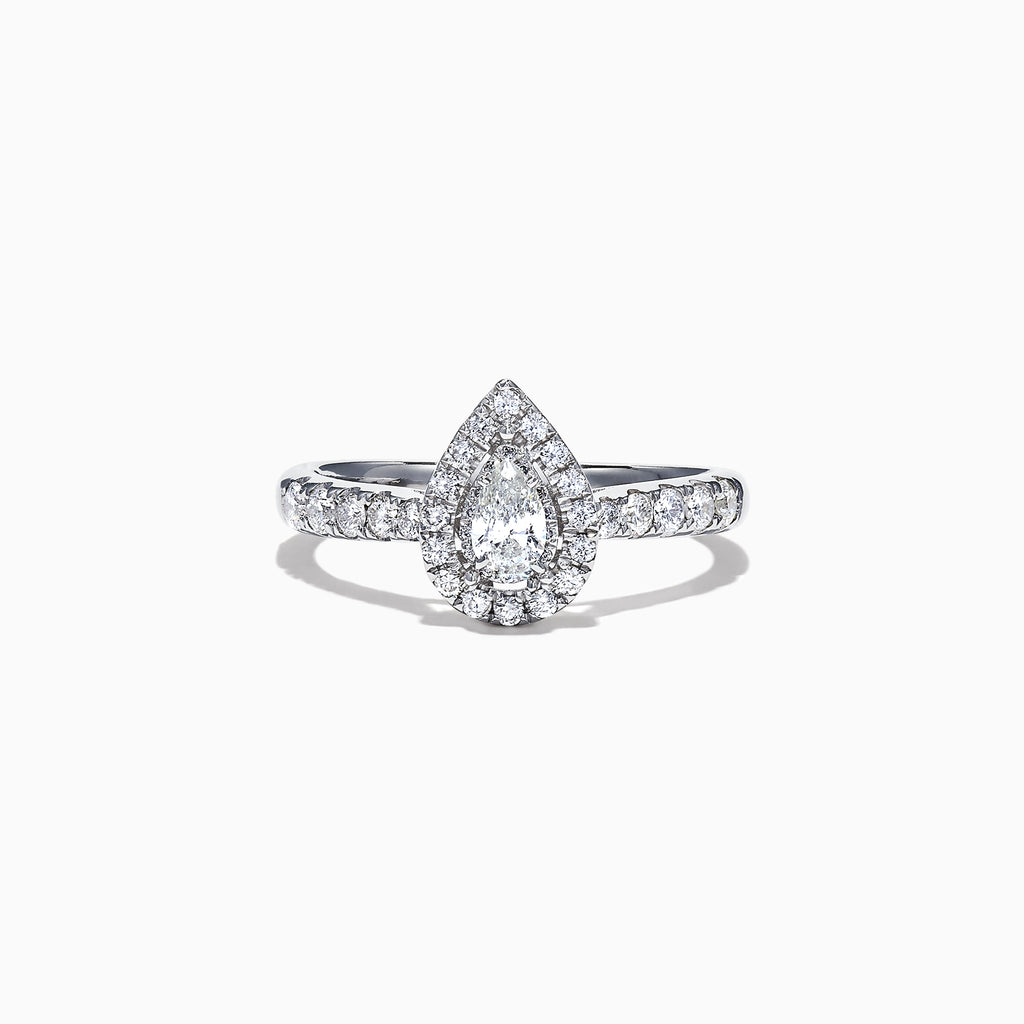 Effy Pave Classica 14K White Gold Diamond Pear Shaped Ring, 0.41 TCW